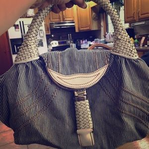 Fendi Zucca blue white stripe handbag